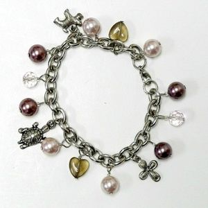 Jewelry - faux pearls, dog, turtle and cross charms bracelet